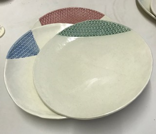 Bowl Plates with fish scale pattern