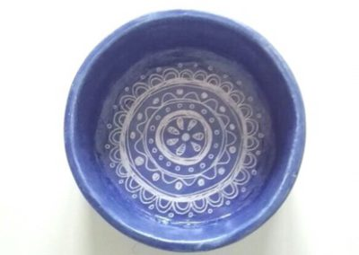 Blue bowl with lace pattern